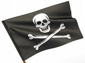 pic of pirate flag  - Holly Rojer flag on white isolated background - JPG