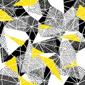 Geometric seamless pattern in retro style. Vintage background.Triangles and hand drawn patterns. Low poster
