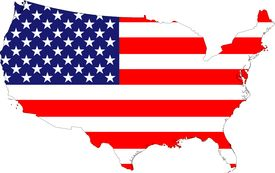 foto of united states map  - The USA stars and stripes old glory flag placed over a map of the United States of America - JPG