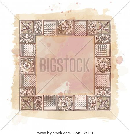 Cornice entablature - hand draw sketch doric architectural orde & vintage watercolor background