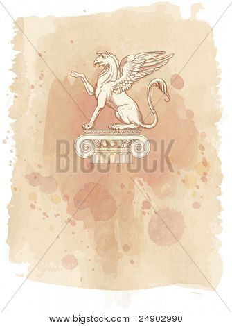 Griffin, seated on an Ionic column - hand draw sketch & watercolor background