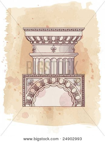 Chapiter- hand draw sketch doric architectural order & vintage watercolor background