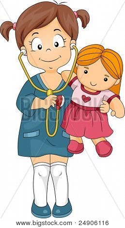Illustration of a Kid Playing the Role of a Doctor