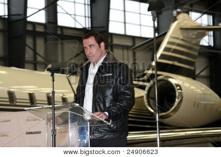 LOS ANGELES - SEPT 20: John Travolta at an Event announcing John Travolta as the Spokesperson for Bombardier at Hanger 25 on September 20, 2011 in Burbank, CA