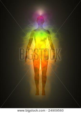Corpo humano, energia, aura, chakras, energia, silhueta