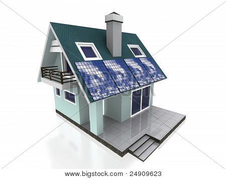 modern big home with energy panel