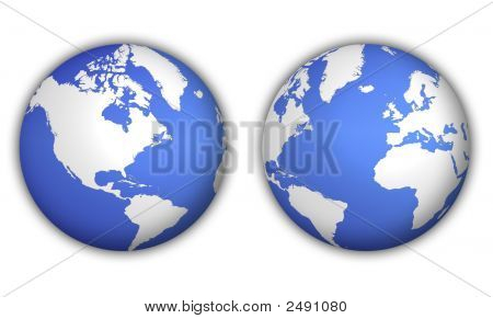 Two Different Views Of World Globe