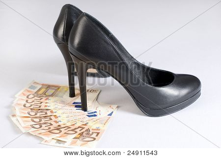 High Heel Shoes On Money.