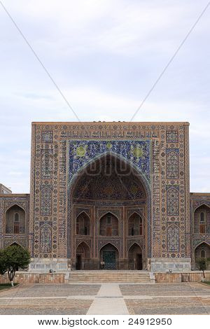 Front Of Tilya-kori Madrasah In Samarkand