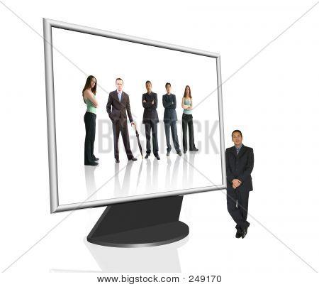 Tela de computador de negócio - equipe Online