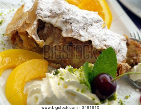 Apple Strudel With Peaches And Cream