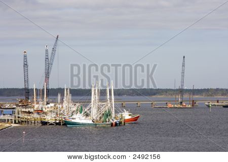 Construction Cranes And Shrimp Boats