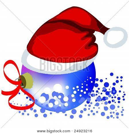 Vector Christmas bauble in hat Santa Claus