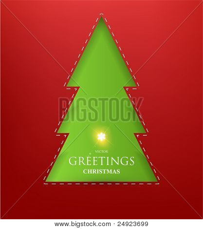 Creative Christmas tree formed from paper. Vector Illustration.