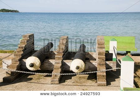 Historic Antique Cannons Waterfront Harbor Brig Bay Corn Island