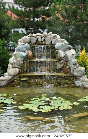 Landscaping - Pond With Rock Slide And Waterfall