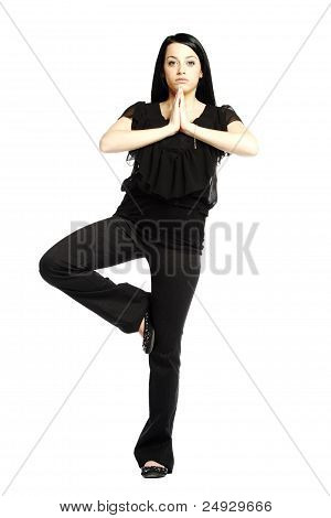 Young Business Casual Woman In Yoga Position