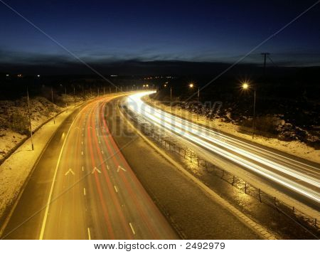 Motorway By Night In Winter