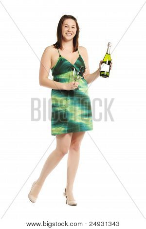 Happy Young Lady With Champagne Bottle In Dress