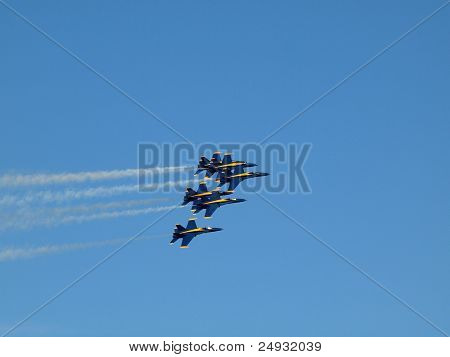 Six Blue Angels Fly In Tight Formation During Air Show