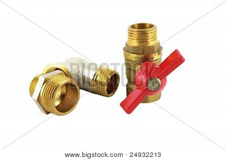 Bronze Faucet And Fittings For Pipe Over White