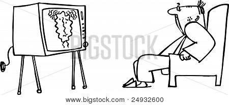Man watching TV set