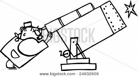 Astronomer looking through telescope