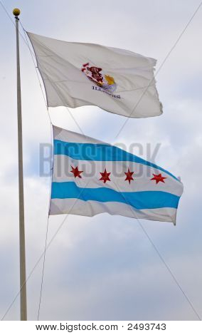 Illinois And Chicago Flags