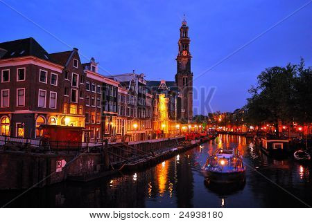 Amsterdam. Channel Prinsengraht At Night