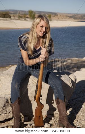 Woman Lake Rifle Smile
