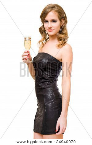 Beautiful Young Blond With Champagne Glass.