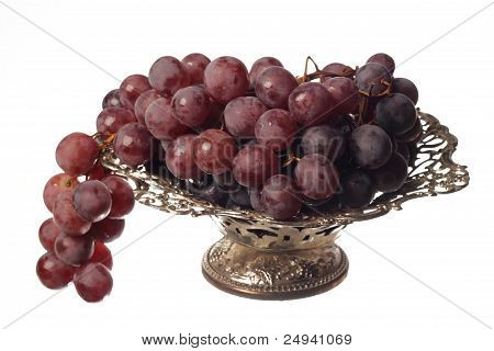 purple grape in a metalic bowl
