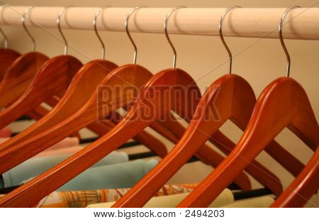 Wooden Hangers Closeup