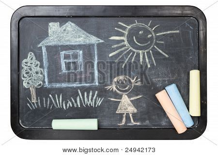 Children's Chalk Drawing On School Board