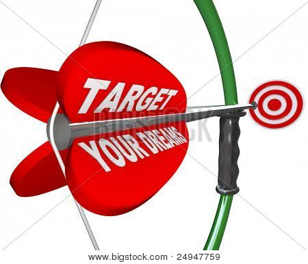 A red arrow is marked Is Target Your Dreams and is aimed on a bow at a bulls-eye that represents achieving your hopes and dreams
