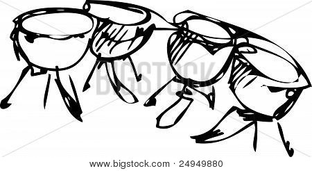 sketch of percussion instruments orchestra timpani