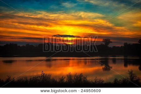 Red Sunset On The River