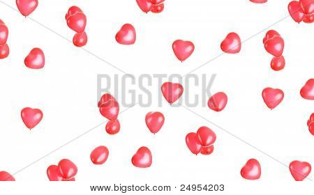 Heart shaped balloons over white background - valentines day background