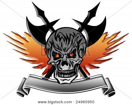 Skull With Wings Axe And Banner