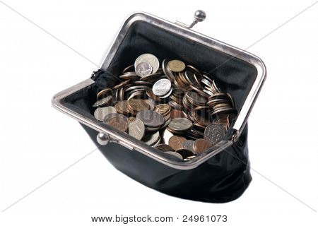 The old  purse with coins isolated on white.