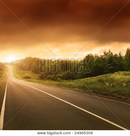 Road at sunset.