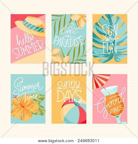 Vector summer cards collection elements with quotes greeting cards vector summer cards collection elements with quotes greeting cards sale badges scrapbook m4hsunfo