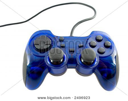 Blue Video Game Controller Detail For Console