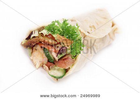 Gyros tortilla over white