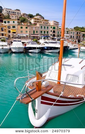 Puerto de Soller Port of Mallorca with boats in balearic island