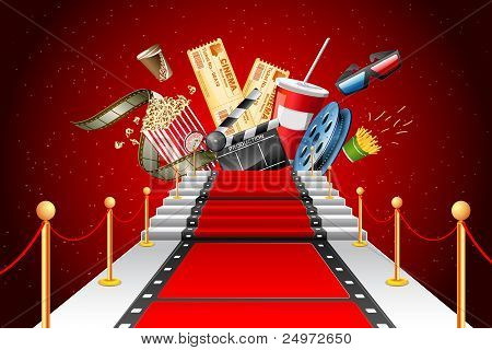 film stripe laying as red carpet