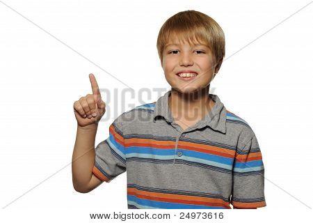 Boy Holding up One Finger