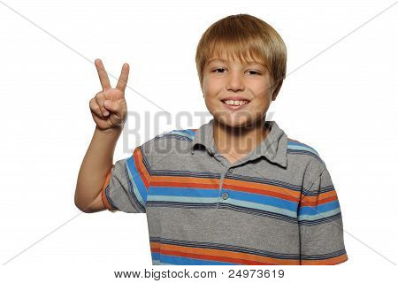 Boy Holding Up Two Fingers
