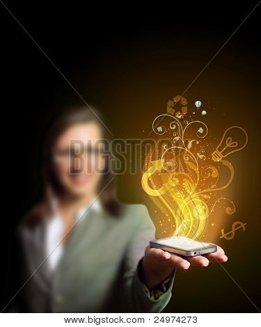 Business woman holding a mobile phone