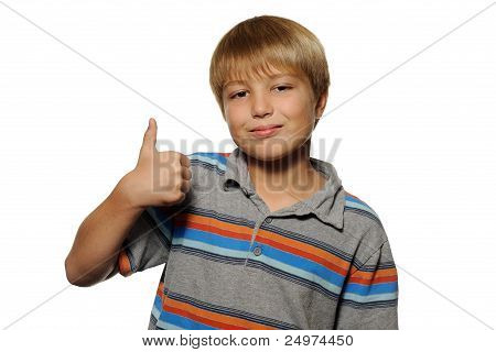Boy Giving Thumbs Up Sign